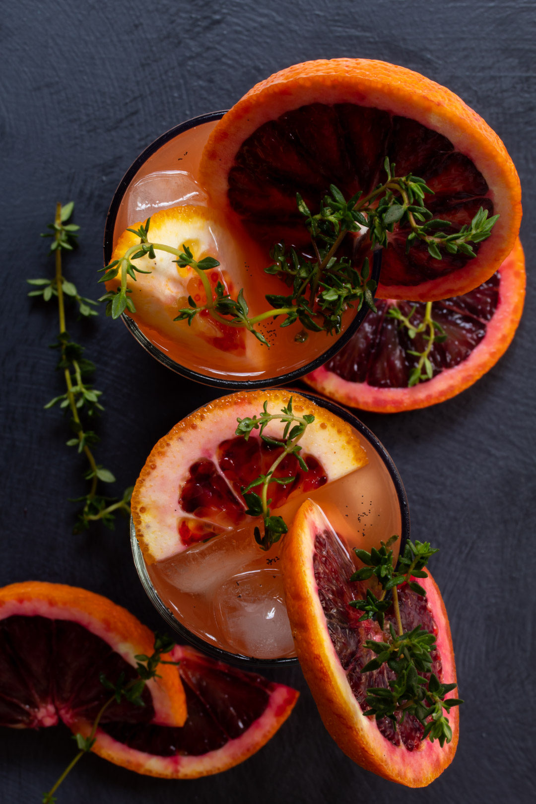 spiced blood orange and thyme shrub