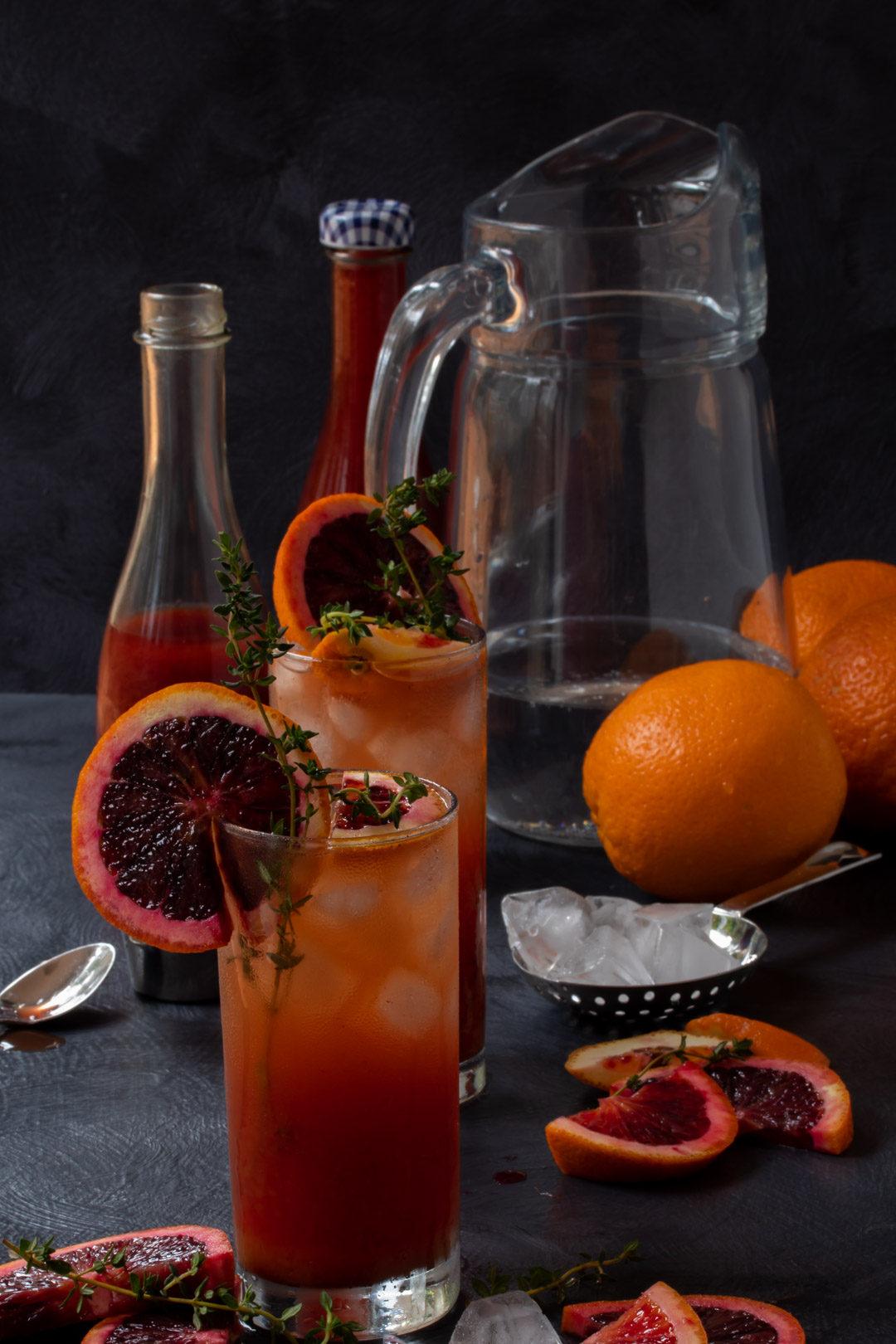 making blood orange and thyme shrub