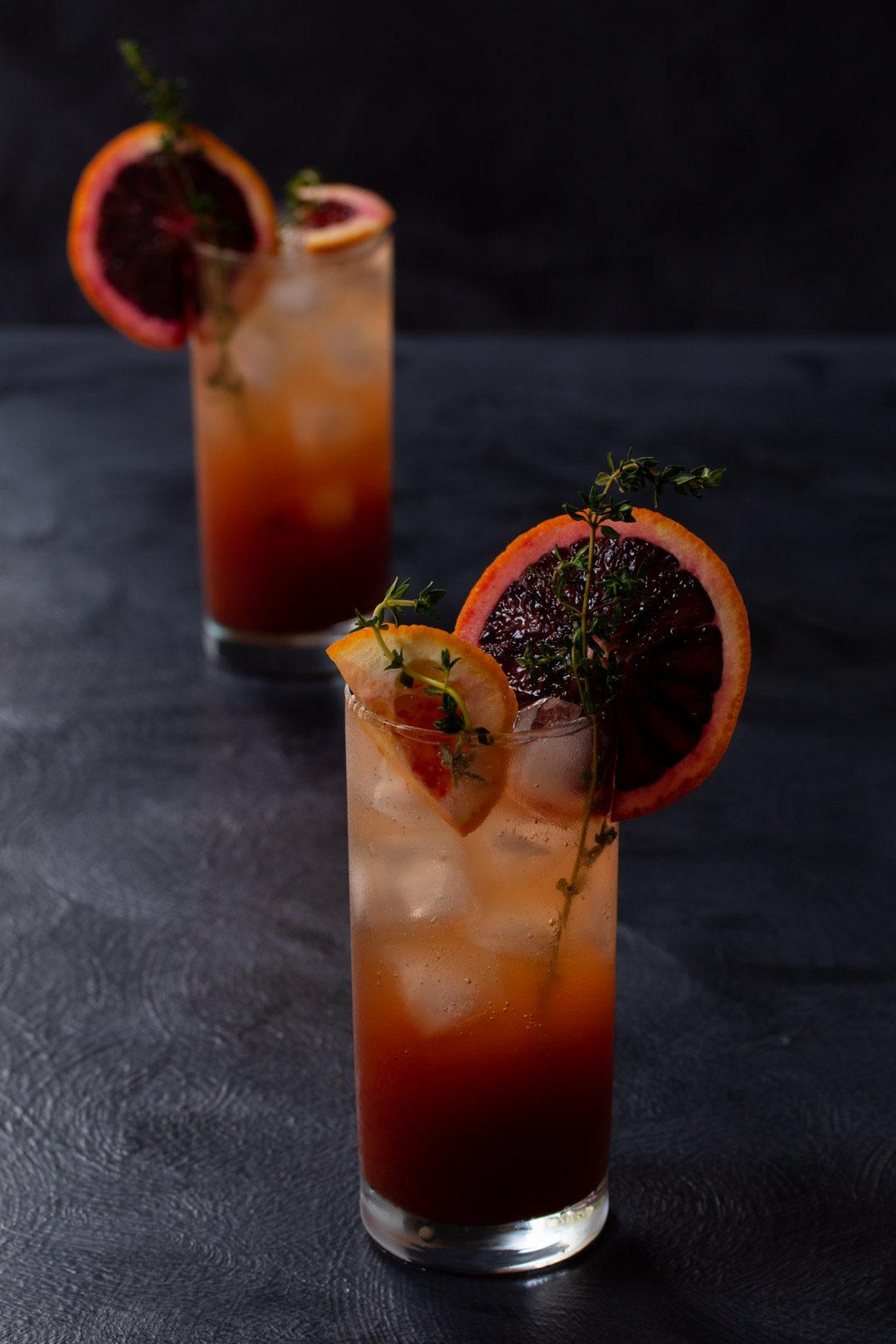 blood orange and thyme spiced shrub