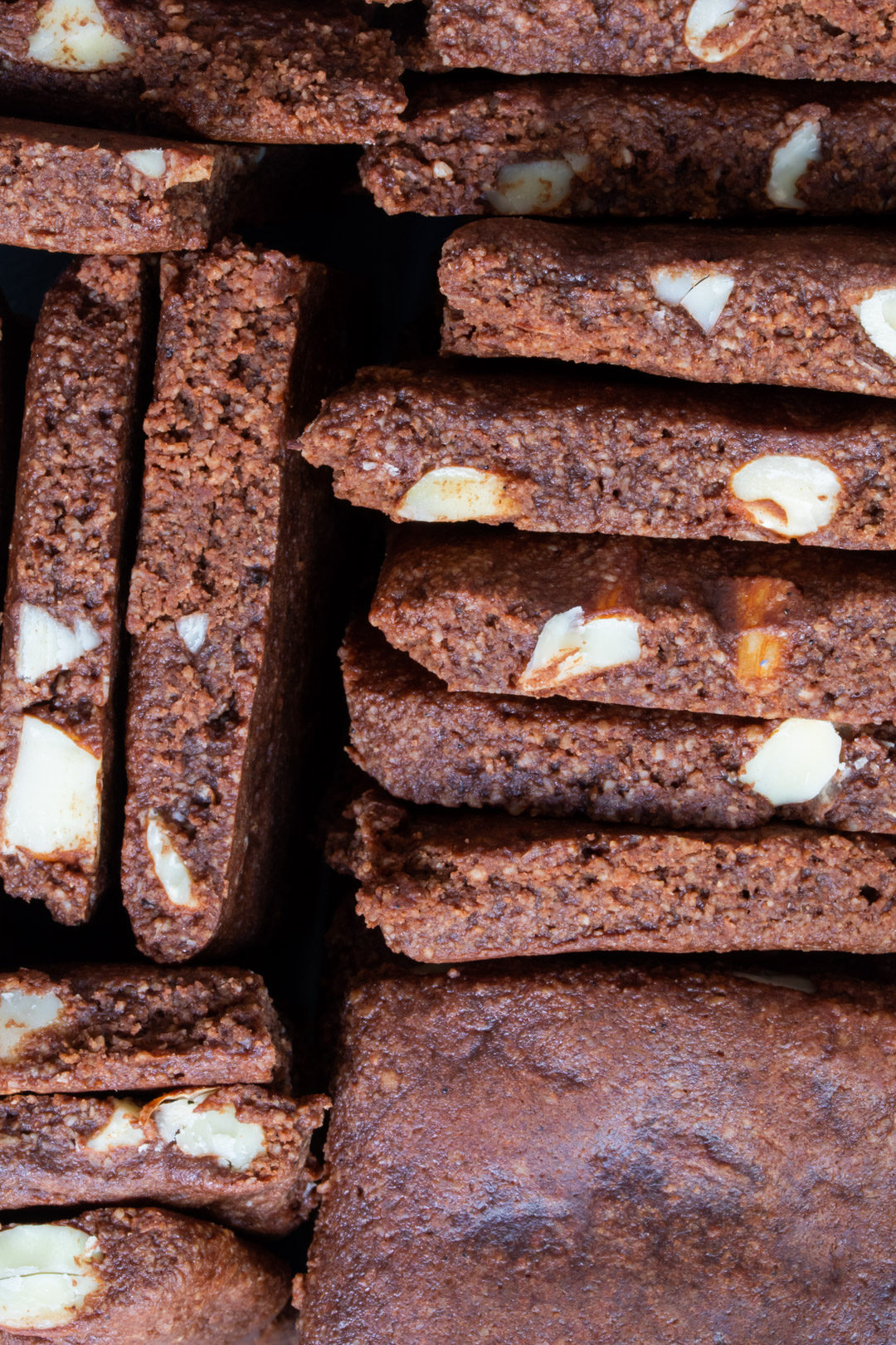 chocolate almond brownie cookies with cardamom and ginger: from above