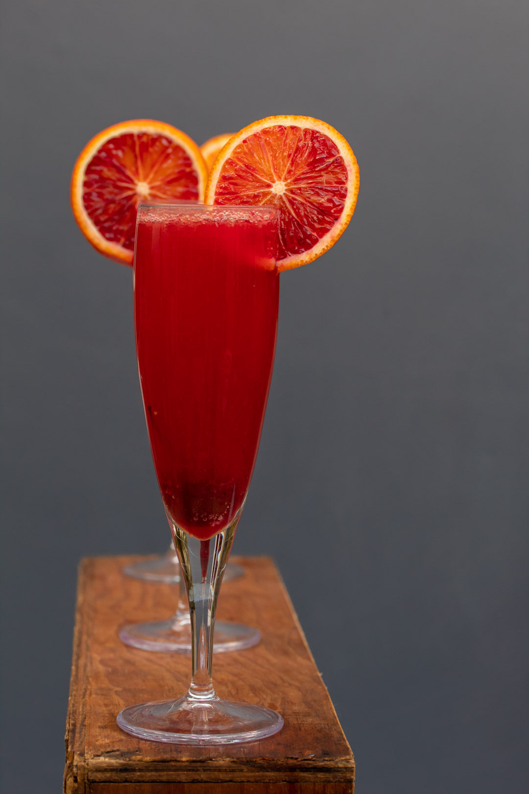 pickled cherry blood orange prosecco cocktail