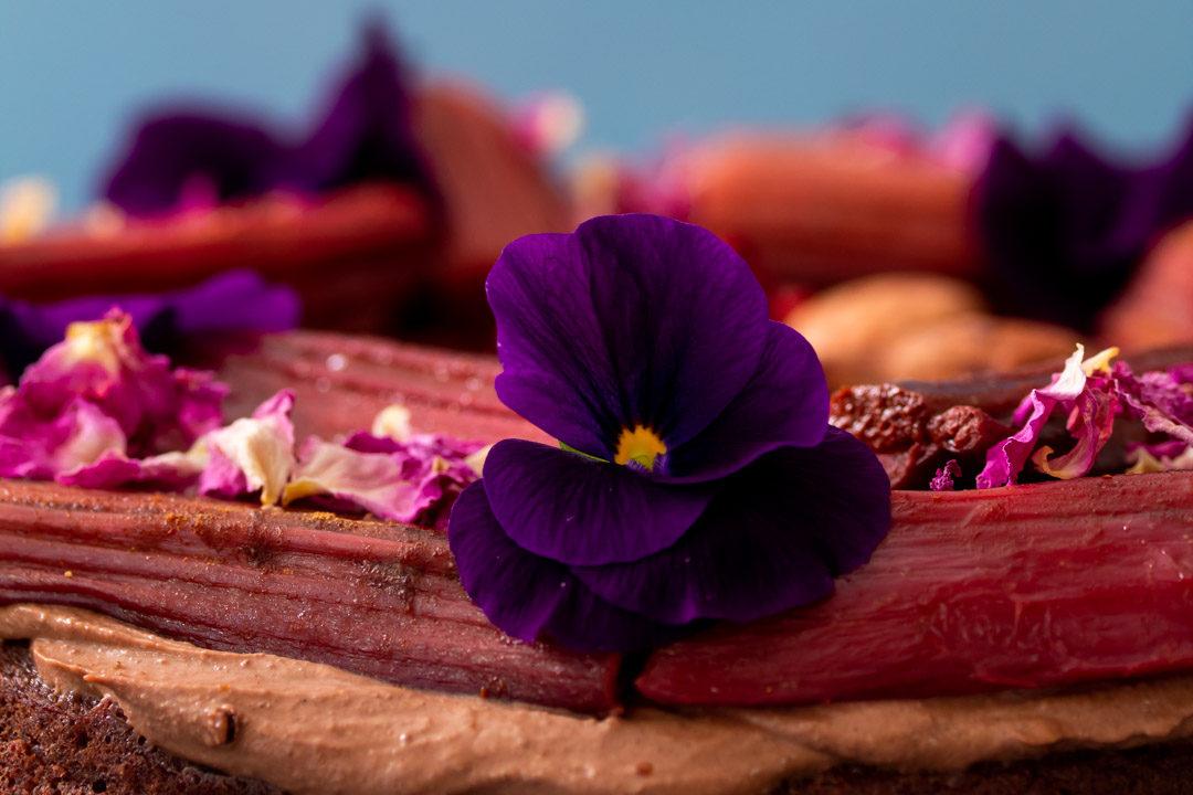 rhubarb cacao spice cake top