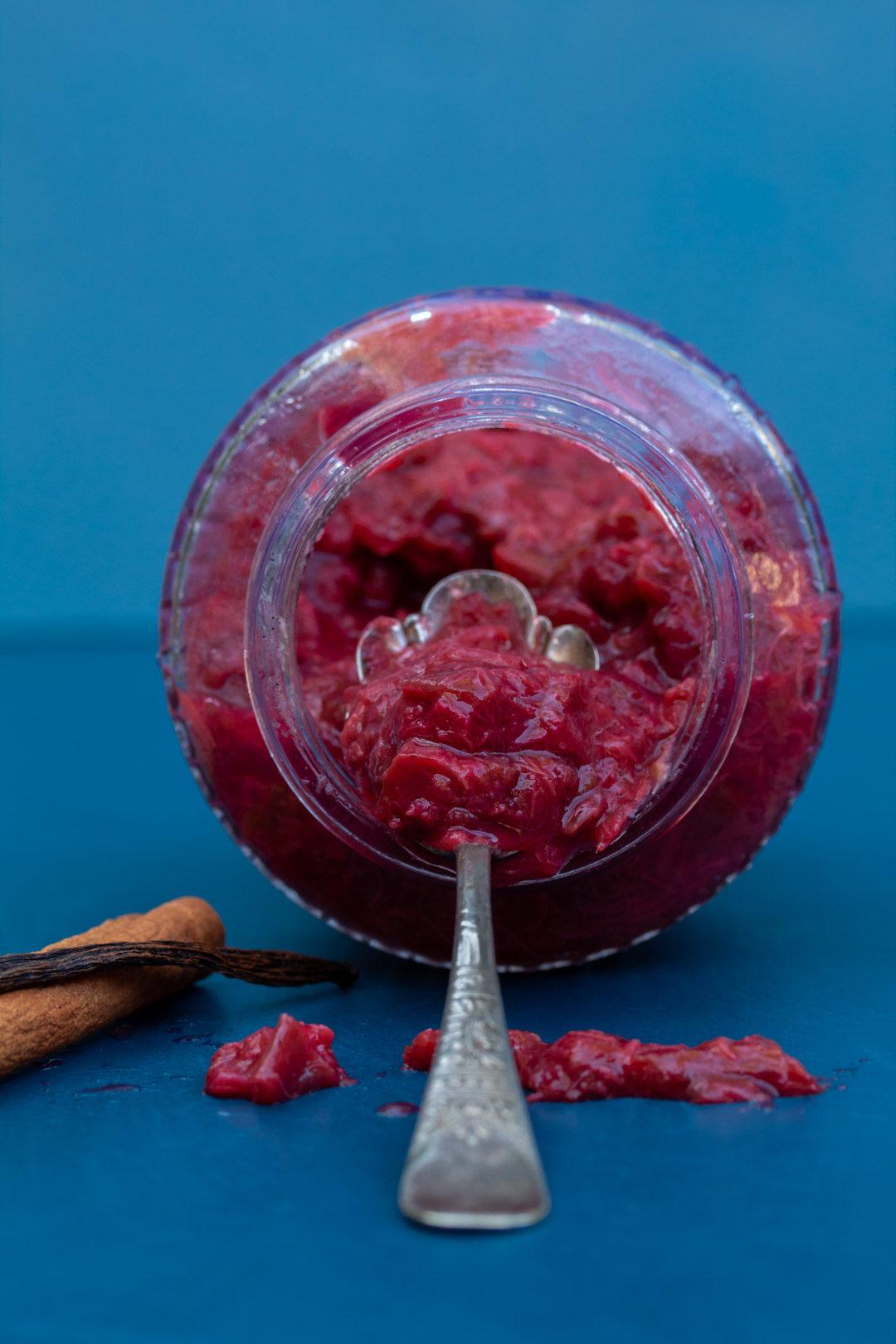 rhubarb compote inside jar