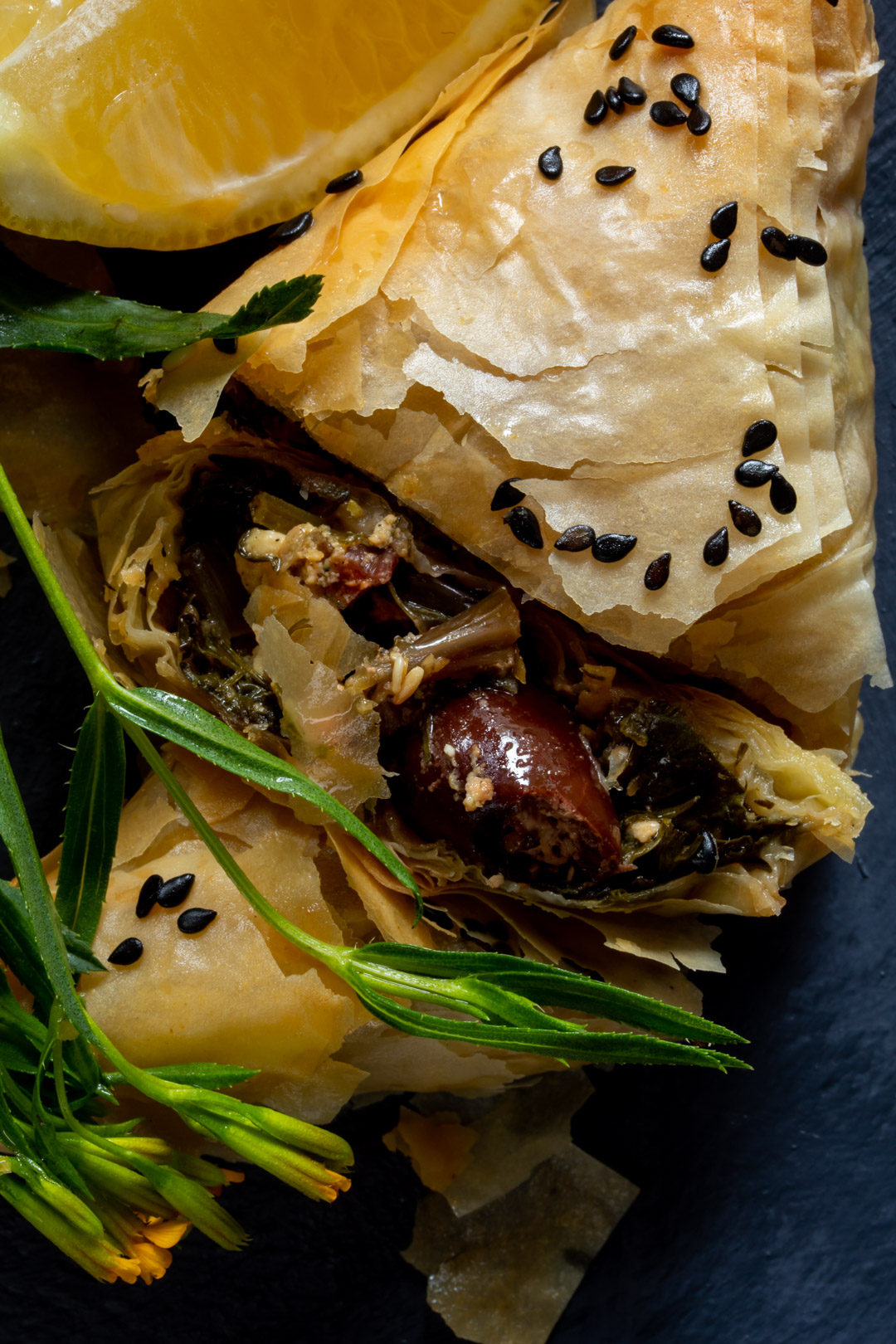 beetroot leaf filo from above section