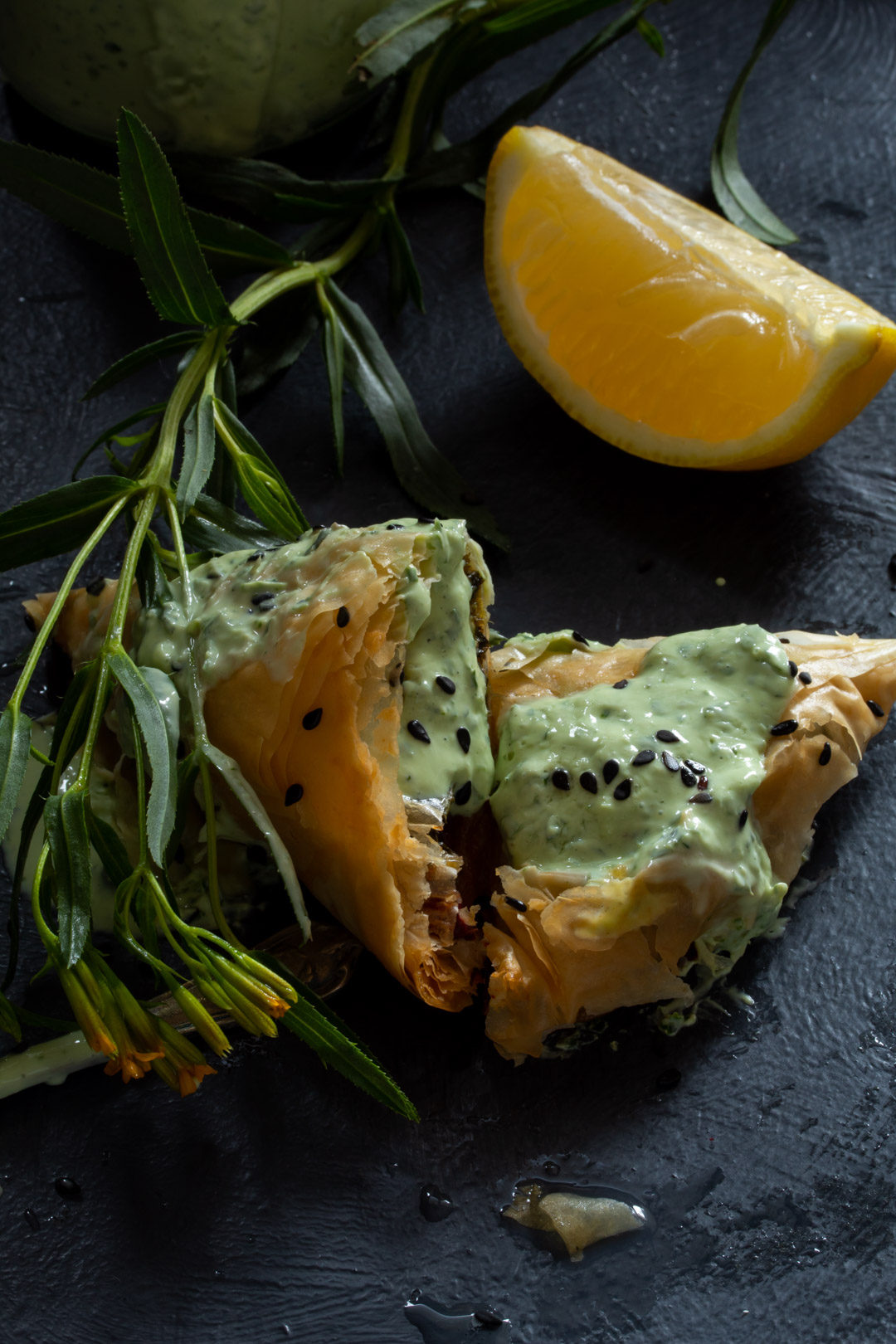 beetroot leaf filo with lemon back