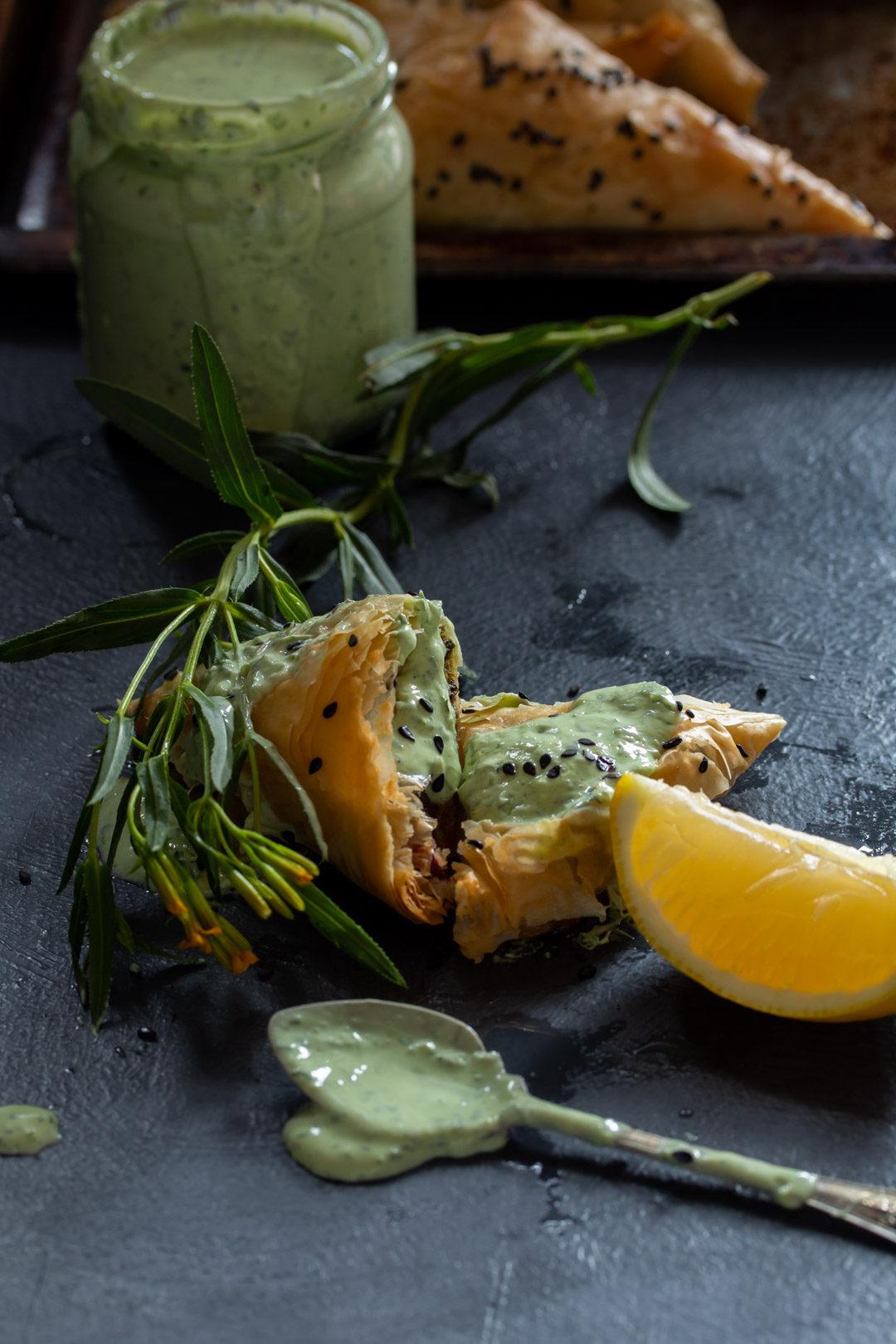 beetroot leaf filo with herb yoghurt spoon