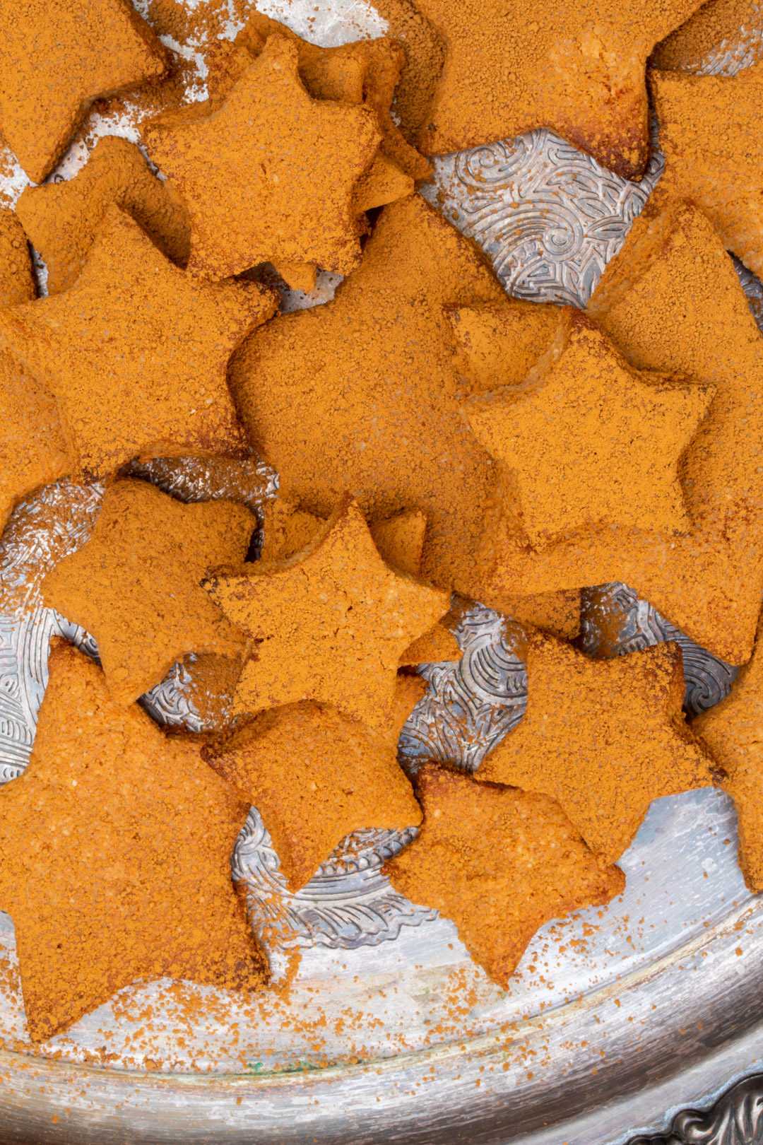 honey cinnamon stars biscuits fro above messy