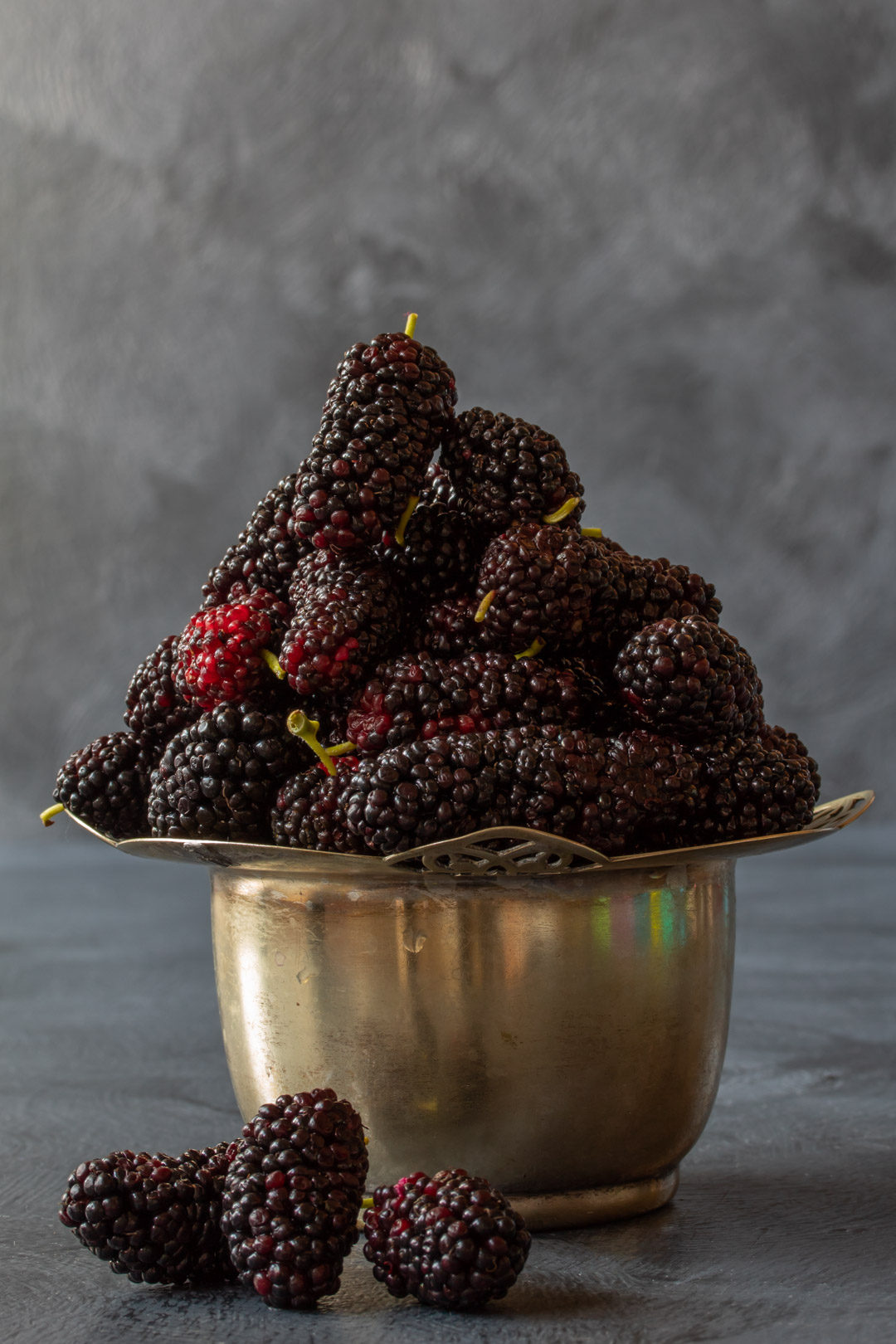 spiced mulberry shrub still life mulberries