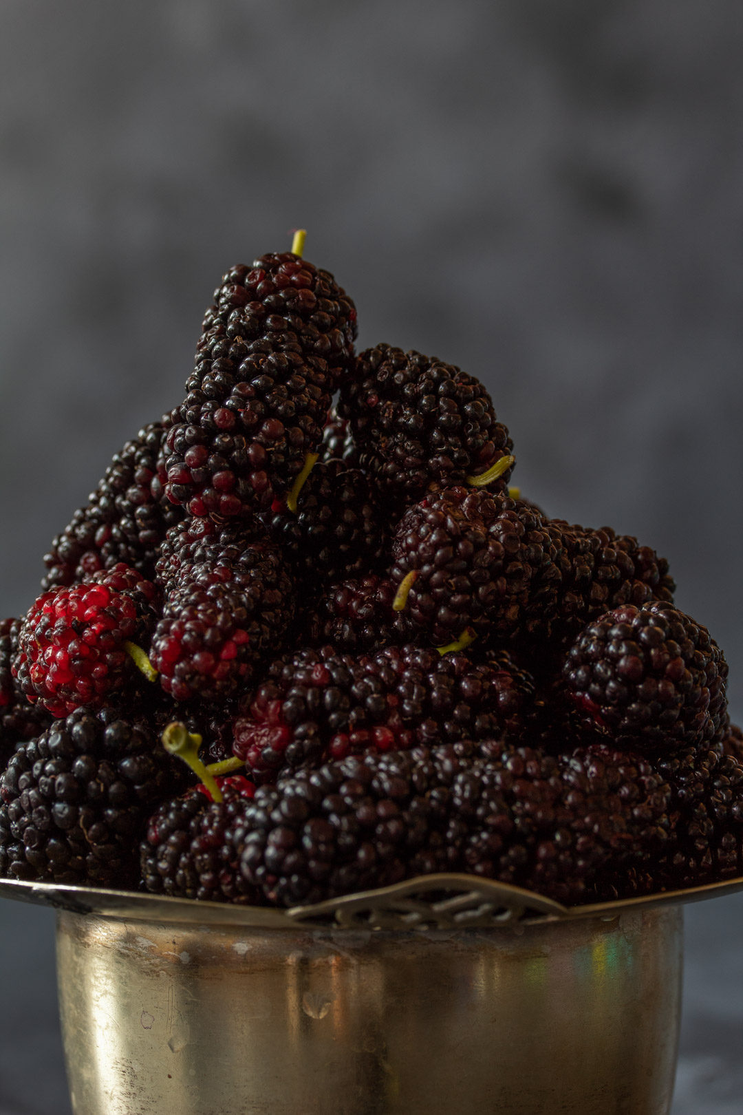 spiced mulberry shrub mulberries still life close up