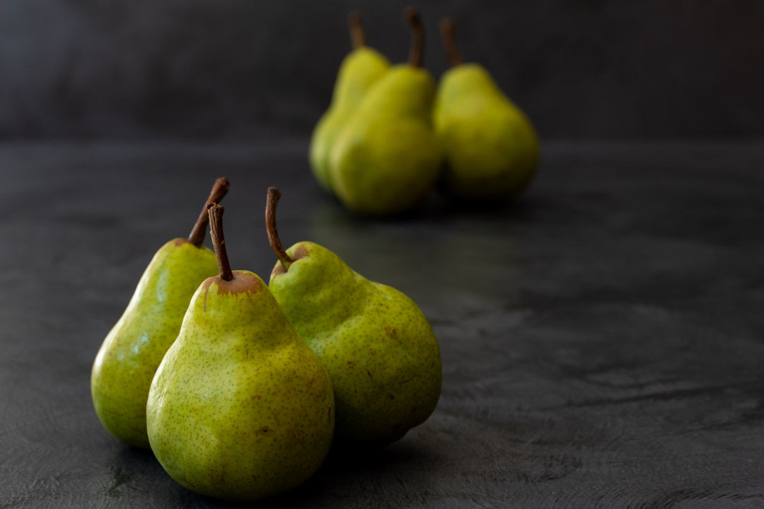 Pear pickles with cardamom & ginger: pears near and far still life