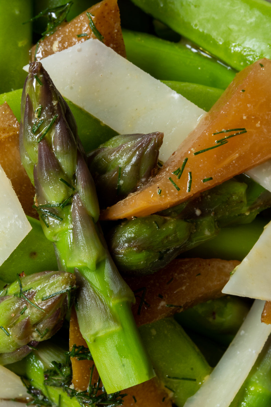 Asparagus and sugar snap pea salad with pear pickle: close up