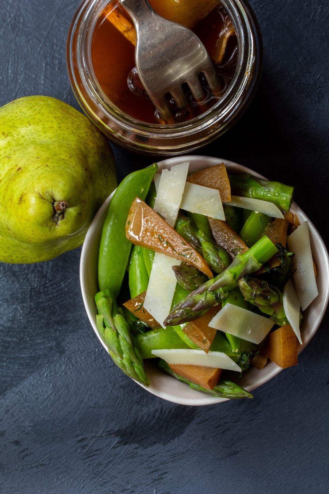 Asparagus and sugar snap pea salad with pear pickle: from above