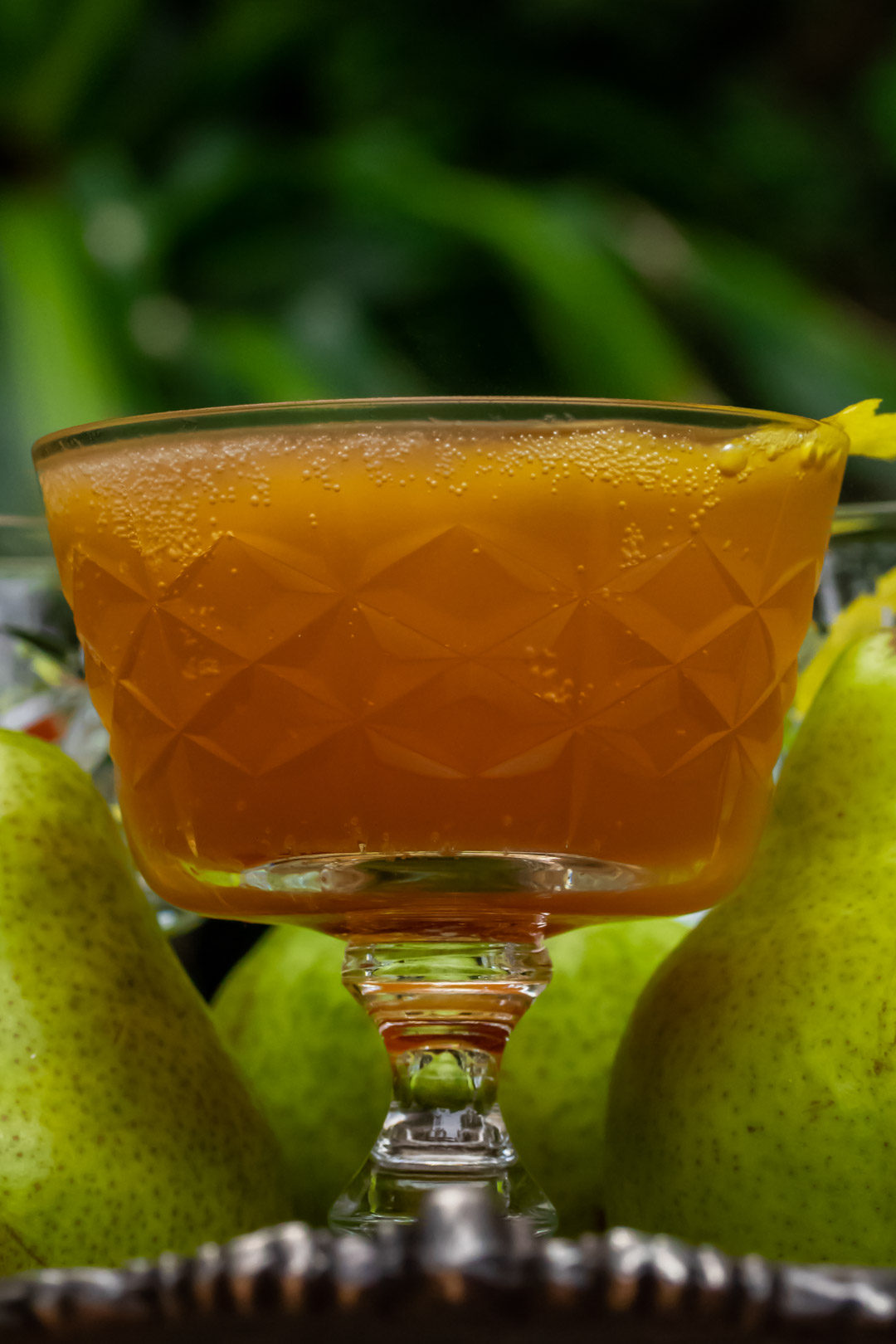 ginger pear champagne cocktail: eye level