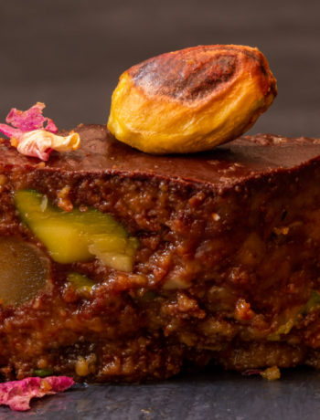 Spiced raw cacao halva with pistachios, ginger, cardamom and rose