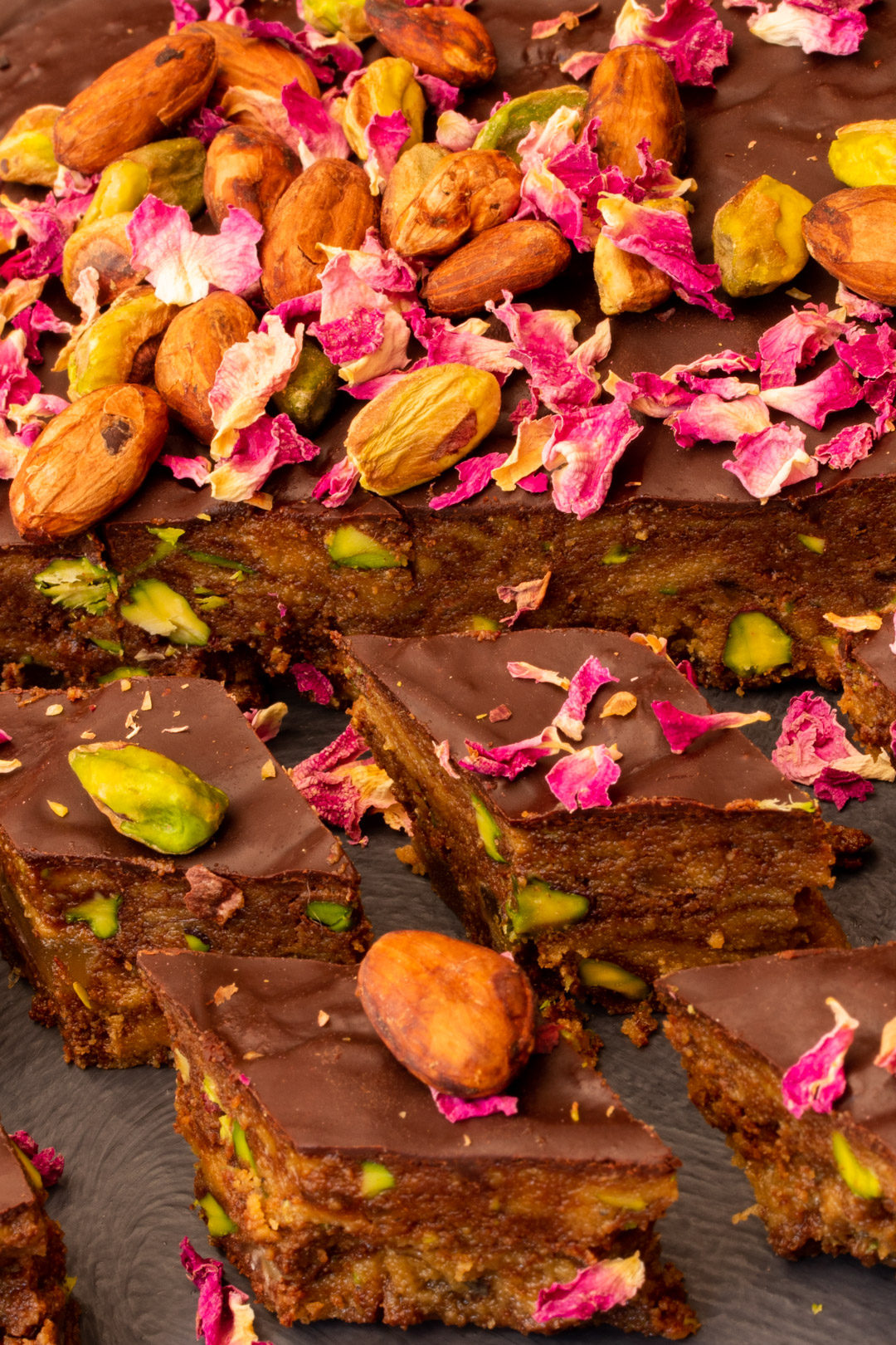 Spiced raw cacao halva with pistachios, ginger, cardamom and rose: diamond pieces