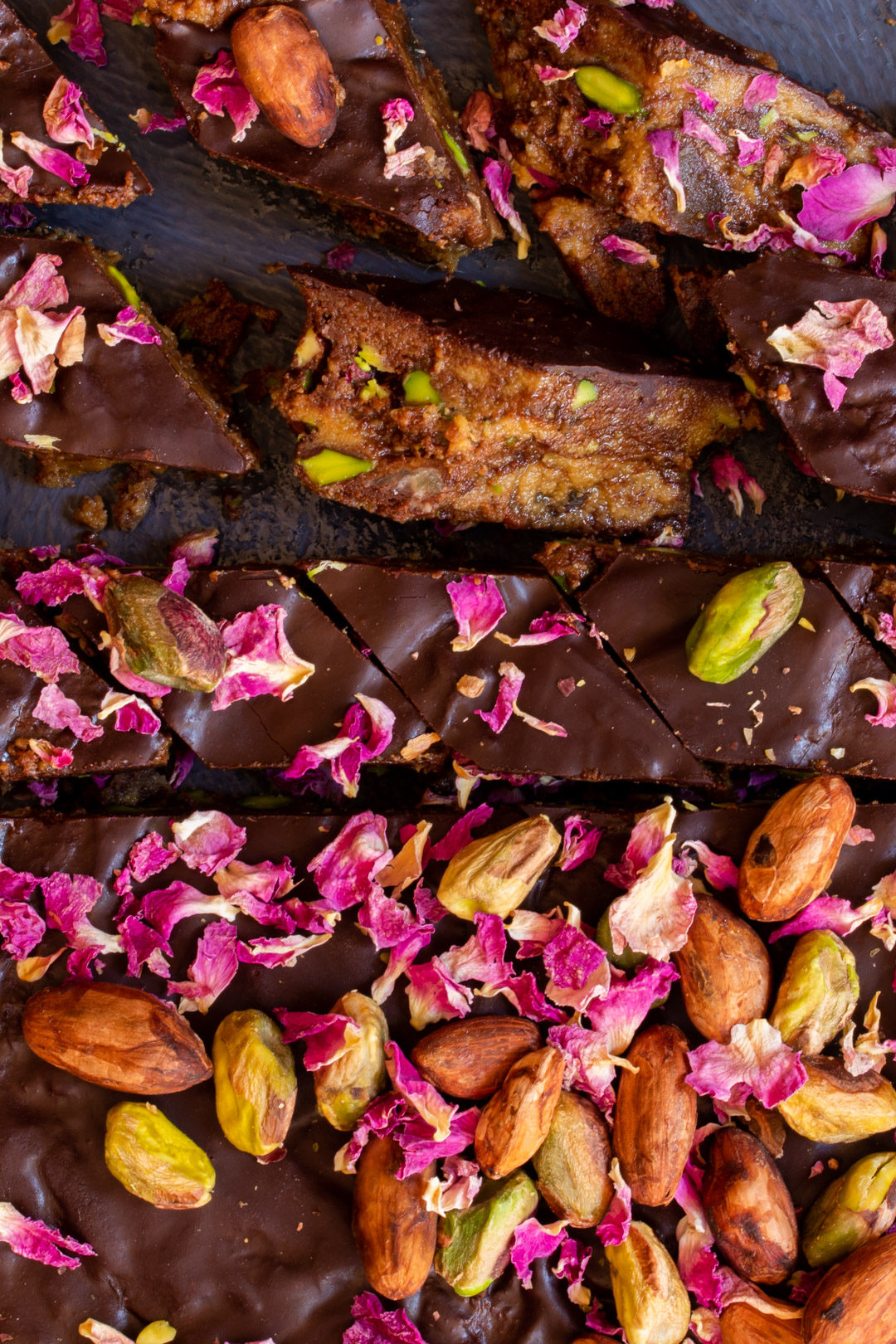 Spiced raw cacao halva with pistachios, ginger, cardamom and rose: cut round straight line