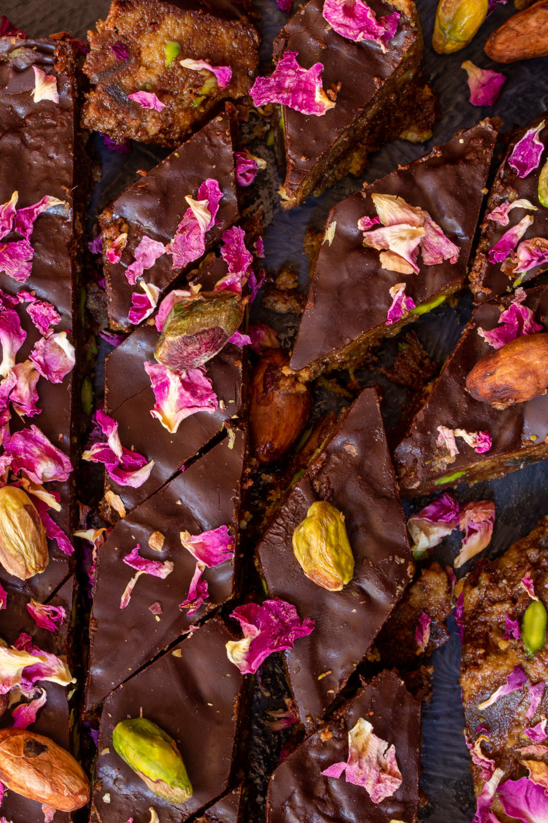Spiced raw cacao halva with pistachios, ginger, cardamom and rose: lines