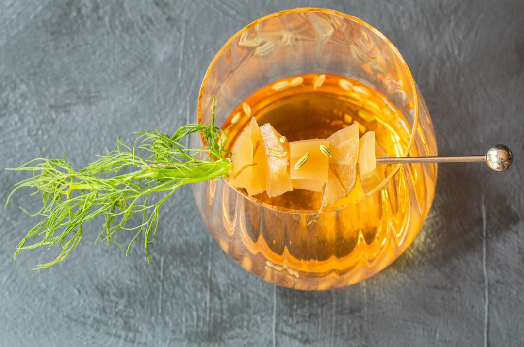 fennel pickle old fashioned cocktail: from above horizontal