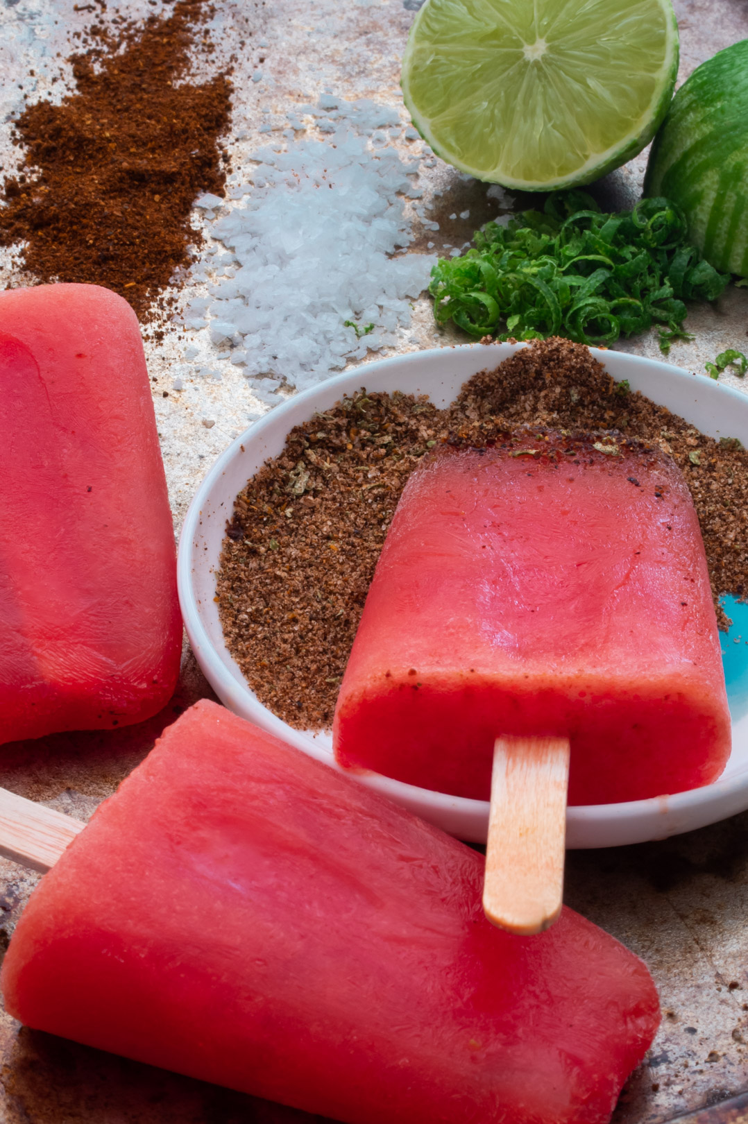 Watermelon paletas with chili-lime salt: from 45 degrees