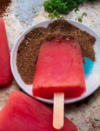 Watermelon paletas with chili-lime salt: from 45 degrees close up