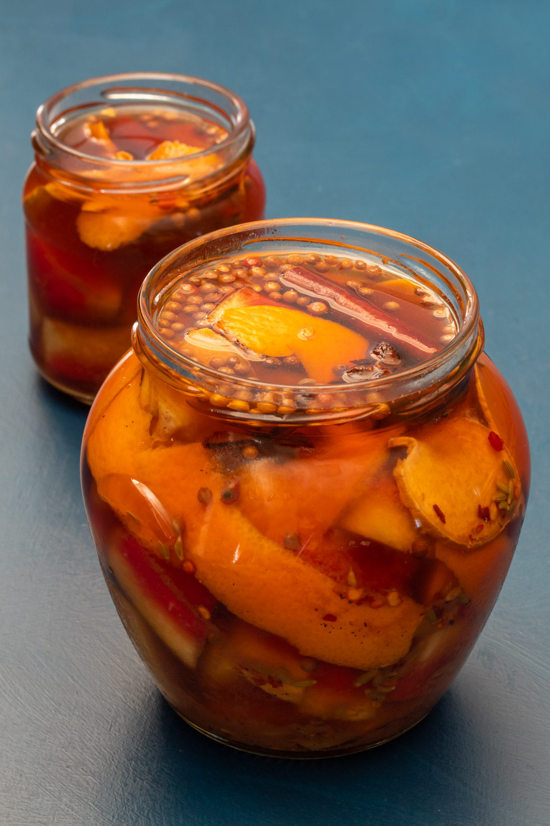 Quick watermelon rind pickle with cinnamon and chili: 2 jars one near and one far