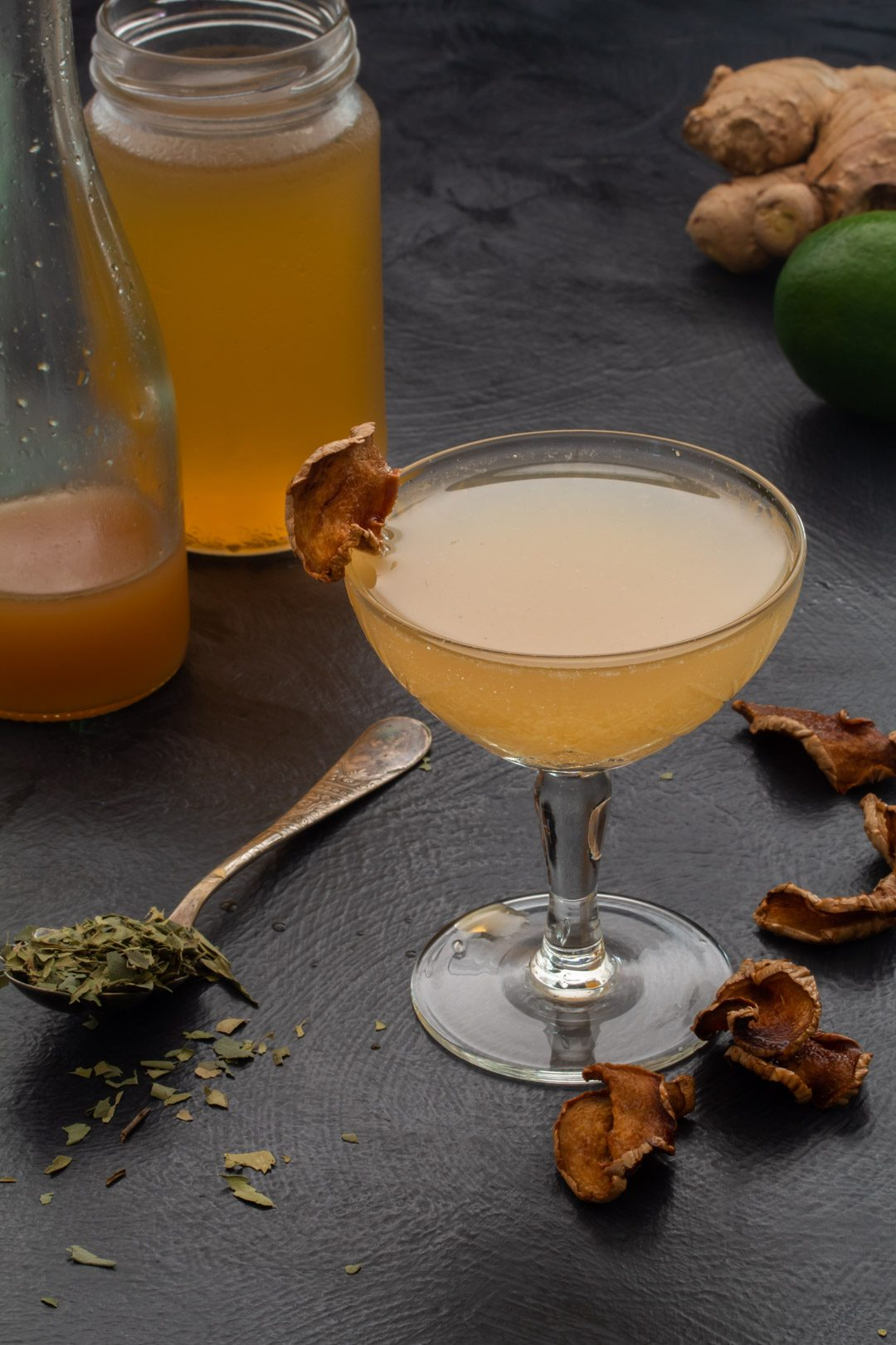 Ginger lime shrub daiquiri with cinnamon myrtle and ginger crisps: 45 degrees making, framed