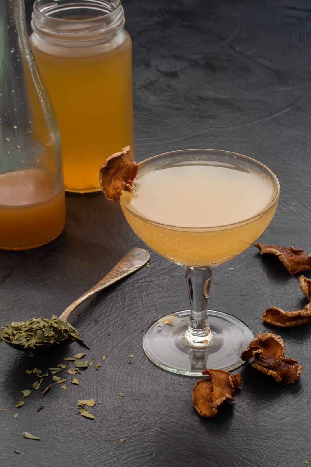 Ginger lime shrub daiquiri with cinnamon myrtle and ginger crisps: 45 degrees making, negative space