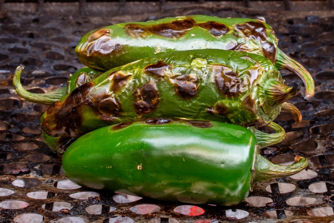 Jalapeno pickles with pepper berries & ginger: bbq close crop
