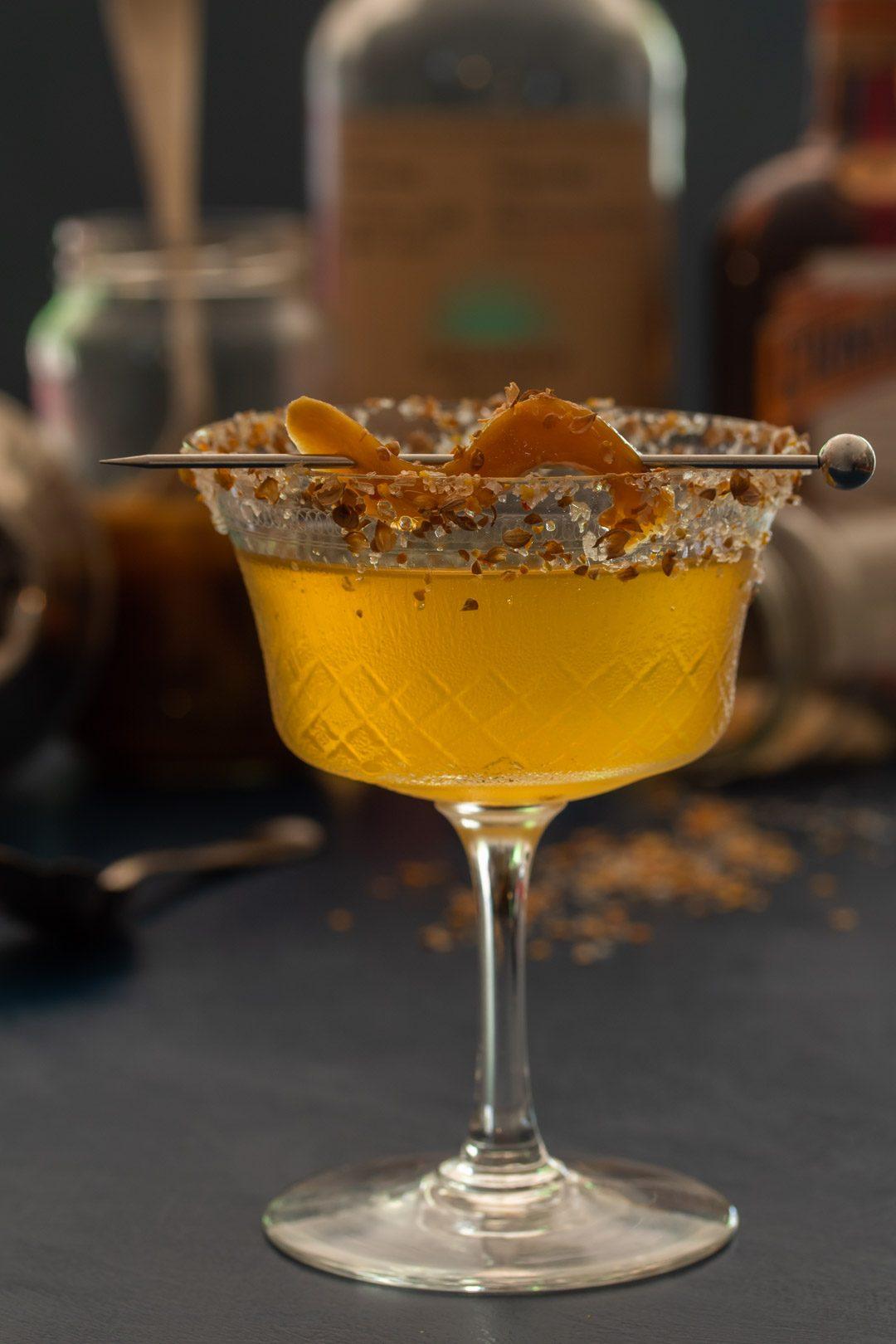 Pickled green mango margarita cocktail with orange coriander salt: making