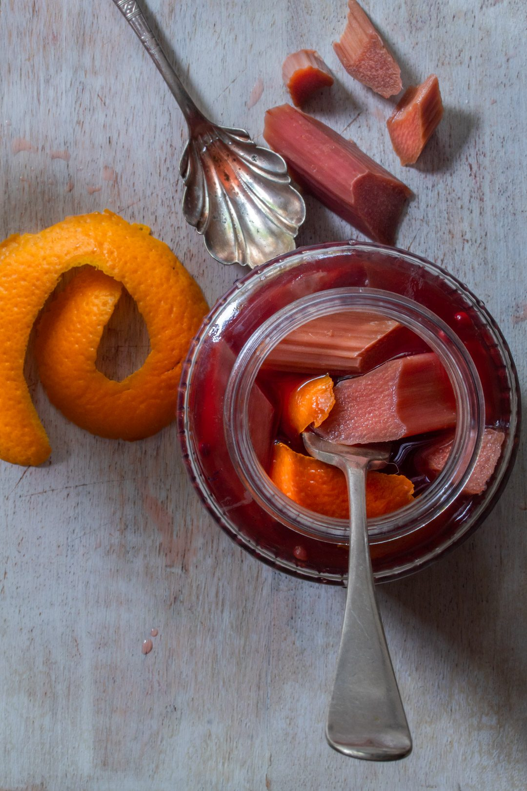 Rhubarb quick pickle with cinnamon myrtle, ginger, pink pepper & orange: with orange twist