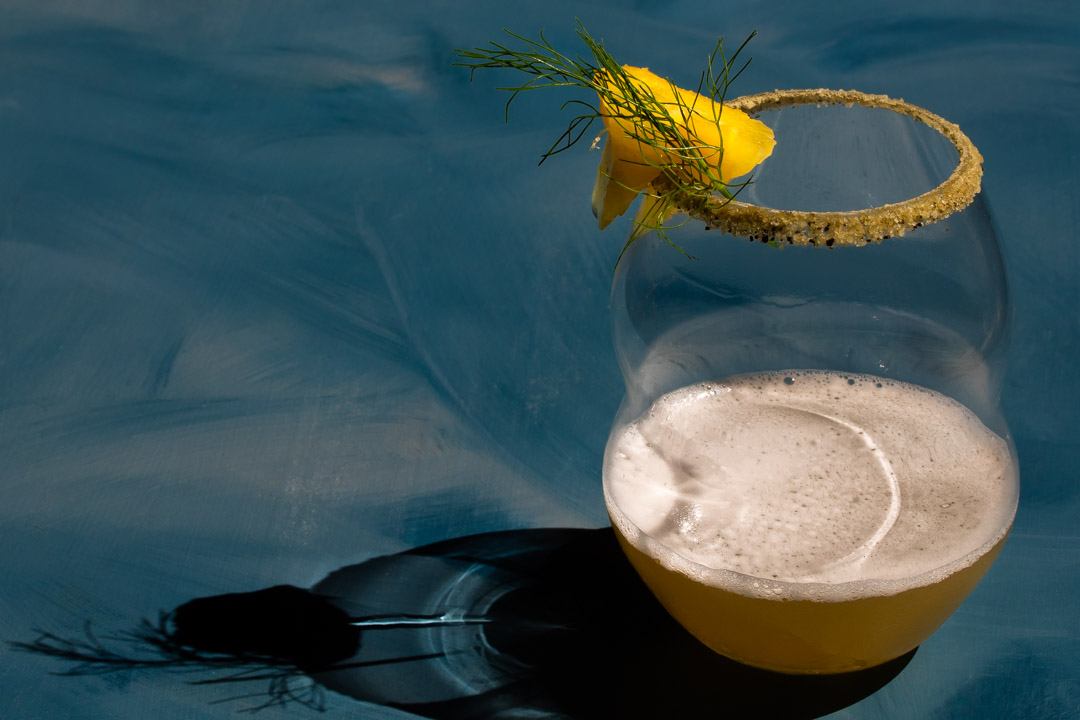 pineapple fennel shrub margarita cocktail with shadow