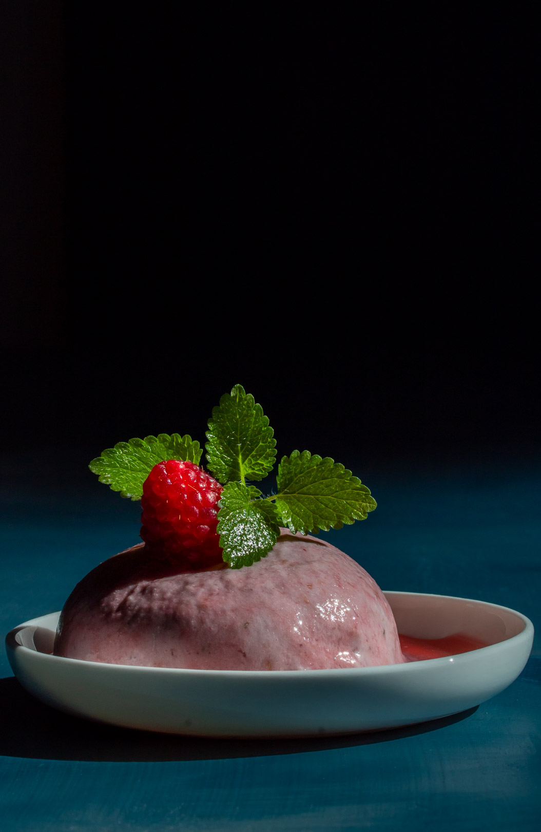 Ice cream made from Raspberry shrub drinking syrup leftovers