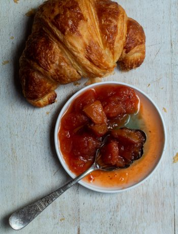 rustic quince apple jam with single croissant