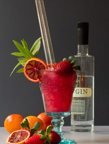 blood orange pomegranate gin daisy cocktail with bottle in background and fruit in foreground