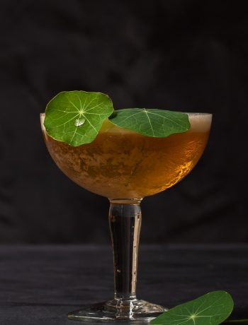 honey rhubarb silver sour with water drop on a nasturtium leaf garnish
