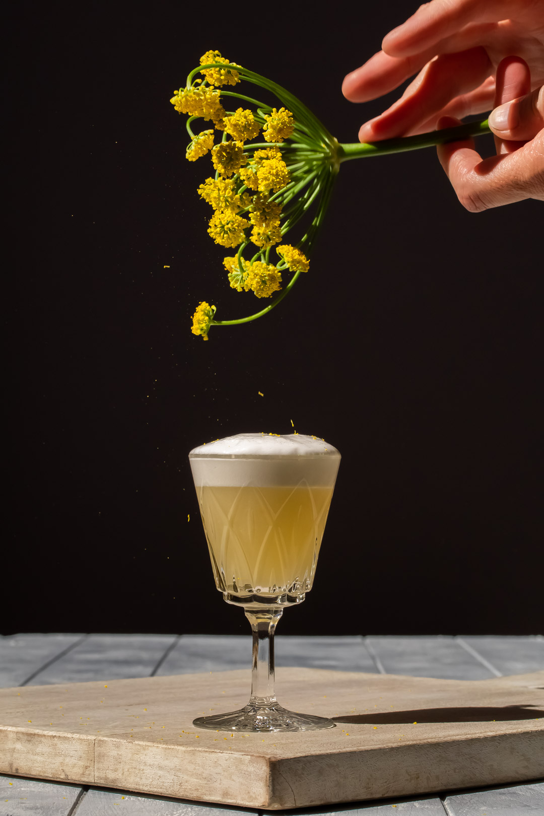 garnishing fennel flower silver sour with fennel pollen