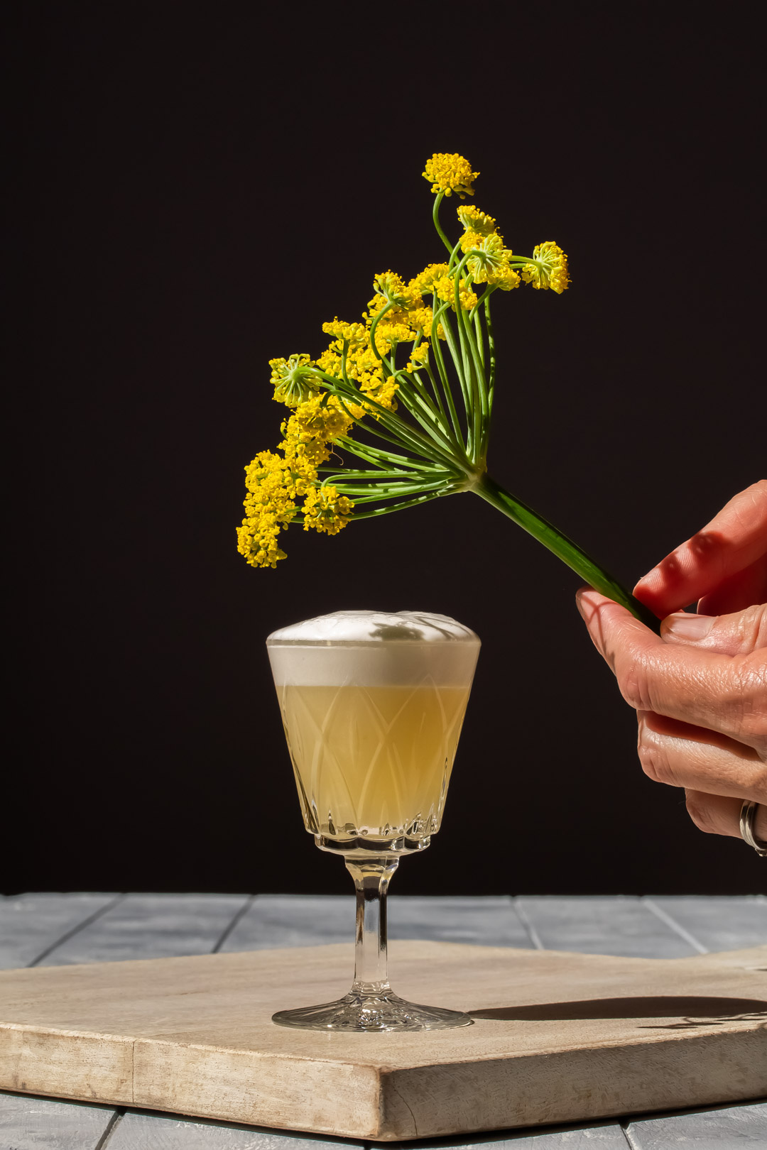 fennel flower silver sour with fennel umbrel over drink