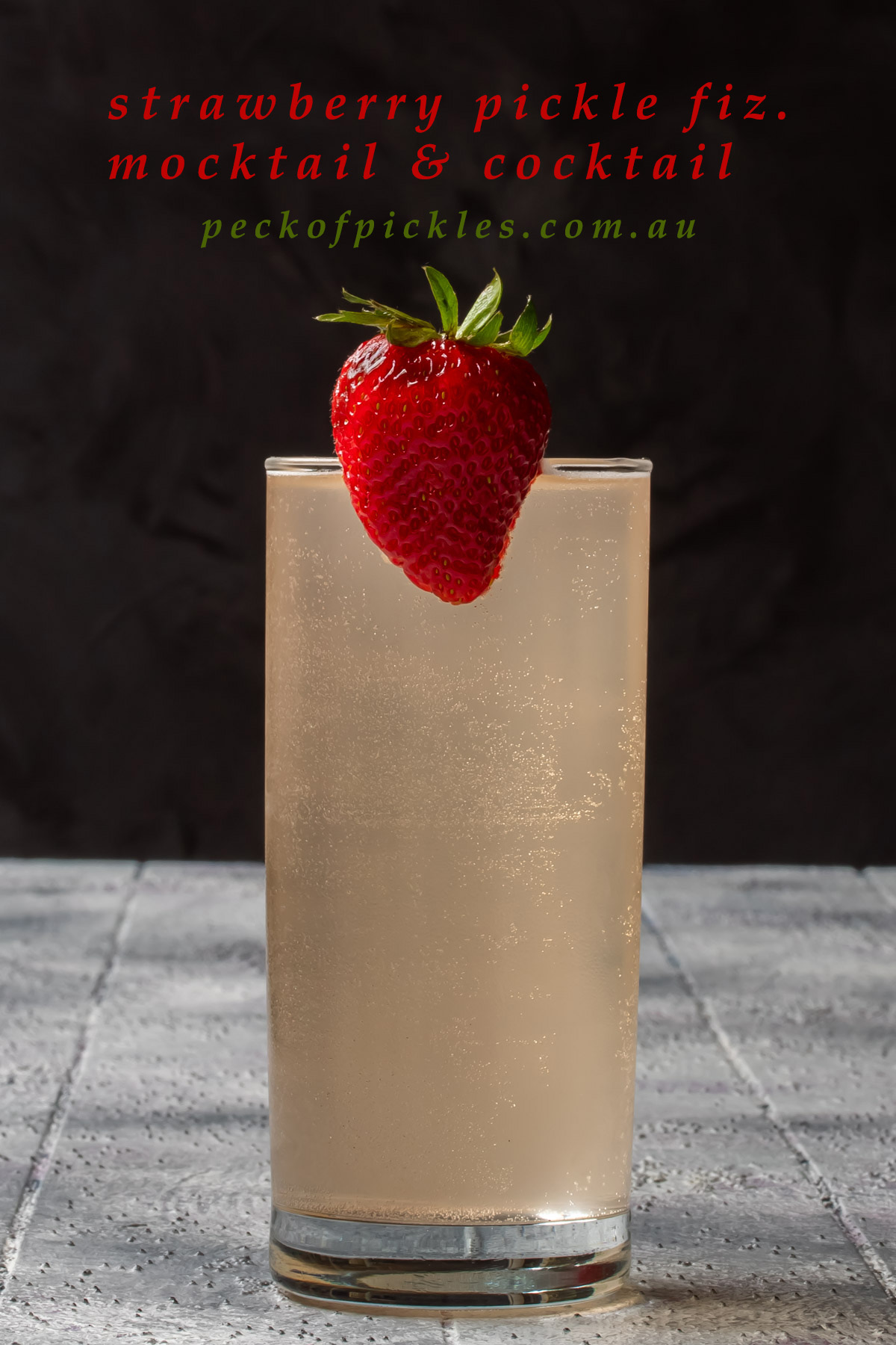 strawberry fiz with strawberry garnish